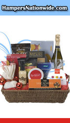 Party bash with basket loaded with food stuffs